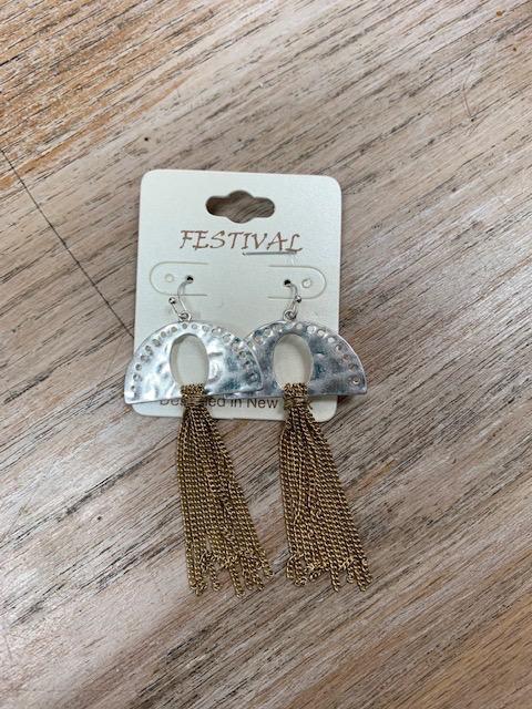Jewelry Half Silver Gold Chain Tassel Earrings