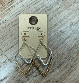 Jewelry Gold Silver Triangle Bead Earrings