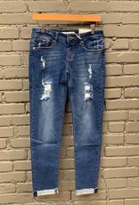 Jean Mid Rise Skinny Jean w/ Destruction
