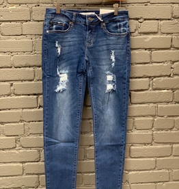 Jean Mid Rise Skinny Jean w/ Destruction