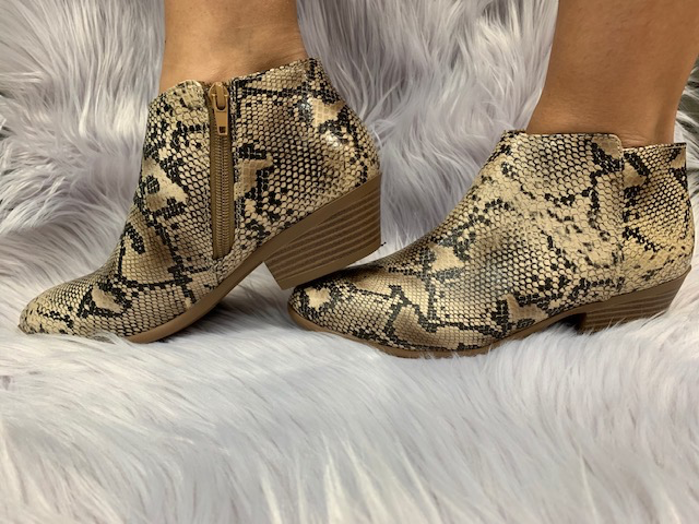 Shoes Python Side Zip Booties