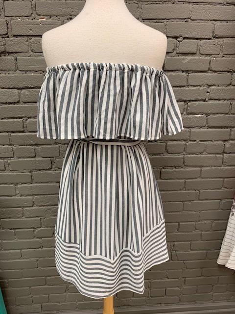 Dress Gray OTS Stripe Tie Dress
