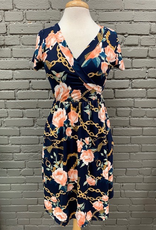 Dress Navy Floral Chain Pocket Dress