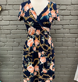 Dress Navy Floral Chain Pocket Dress