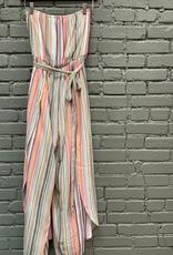 Romper Tube Top Multi Striped Woven Jumpsuit