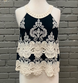 Tank Embroidered Scallop Edge Woven Top