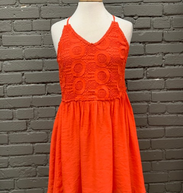 Dress Sundress w/ twist tie back & Lace Detail