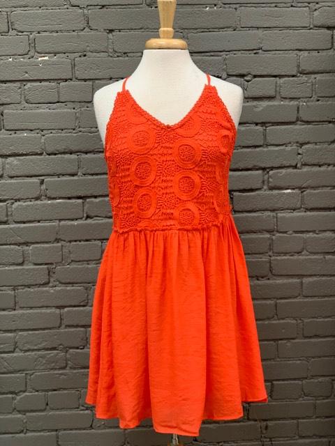 Dress Sundress w/ twist tie back & Lace Detail