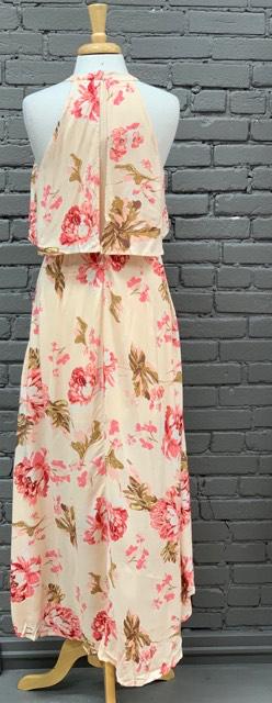 Dress Peach Floral Dress w/ Slit front