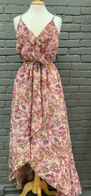 Dress Paisley Long Dress w/ Ruffle Front