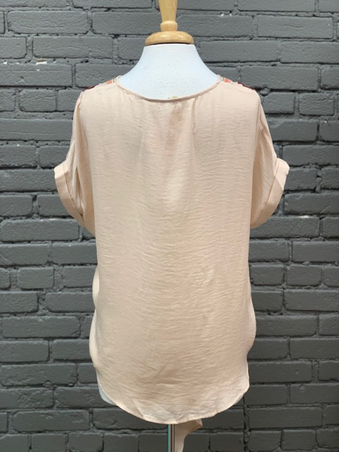 Top Taupe Top w/ Embroidered Flower Detail & Tie Front