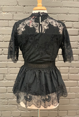 Top Lace Top w/ Embroidered Waist
