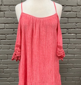 Top Coral Washed Cold Shoulder Top