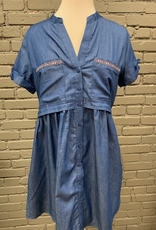 Dress Denim Chambray Button Dress