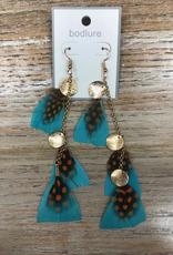 Jewelry Blue/Orange Feather Earrings