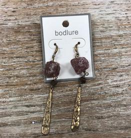 Jewelry Rose Rock Dangle Earrings