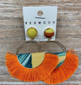 Jewelry Half Moon Orange Tassel Earrings