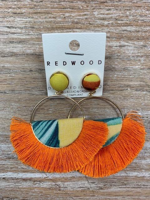 Jewelry Half Moon Orange Tassel Earrings