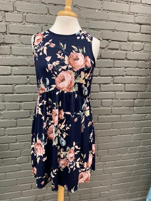 Dress Navy Floral Dress w/ Pockets