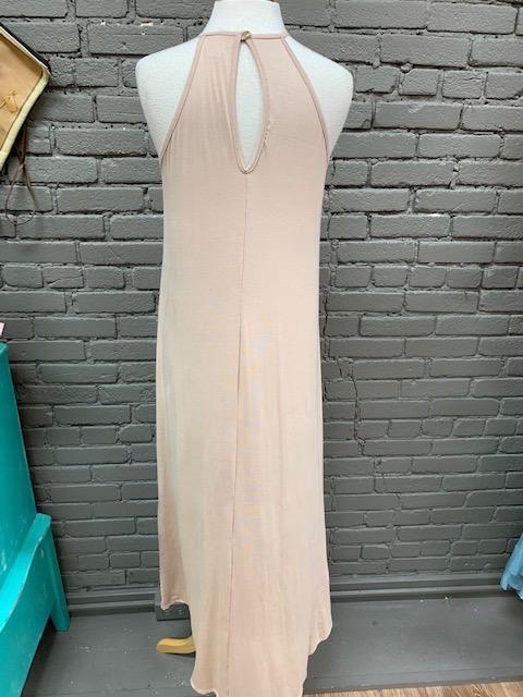 Dress Taupe Crochet Halter Maxi Dress