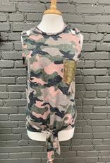 Tank Pink Camo Sequin Pocket Tank