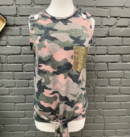 Tank Pink Camo Sequin Pocket Tank