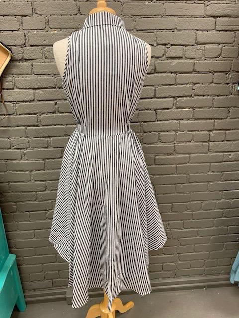 Dress Gray Stripe HiLo Button Dress
