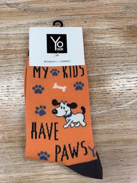 Socks Women's Crew Socks- Kids Paws