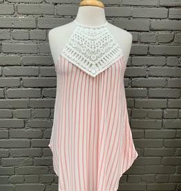 Tank Pink Stripe Crochet Neck Tank