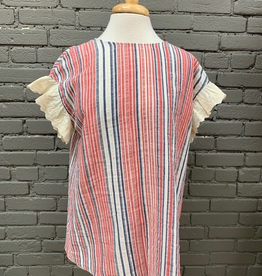 Top Red Navy Ruffle Stripe Tee