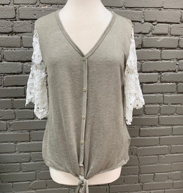 Top Mocha Lace Sleeve Button Top