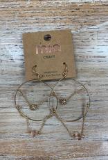 Jewelry Gold Hoops w/ Chains Earrings
