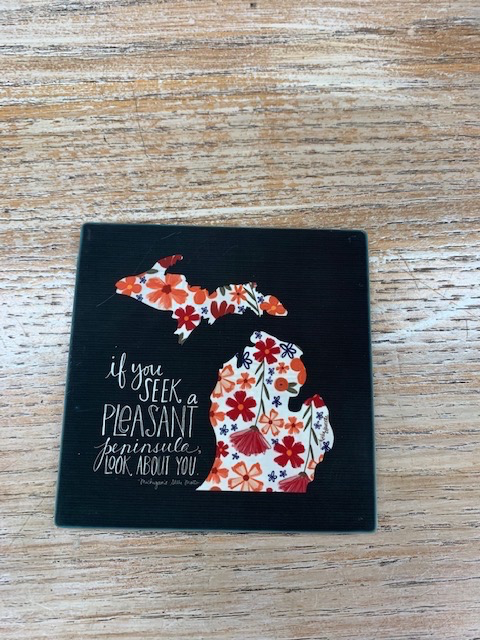 Kitchen MI State Motto Peninsula Coaster
