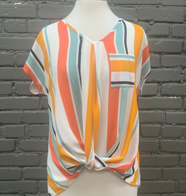Blouse Coral Striped Shirt w/ Twisted Front