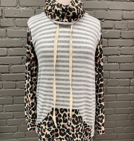 Long Sleeve Cowl Neck Leopard Stripe LS