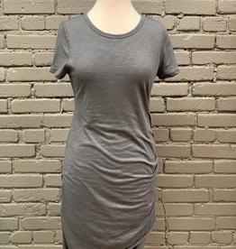 Dress Gray Runched T-Shirt Dress