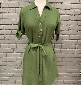 Dress Olive Button Tie Shirt Dress