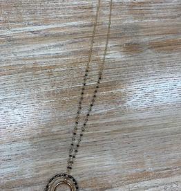 Jewelry Long Black Bead Half Moon Necklace