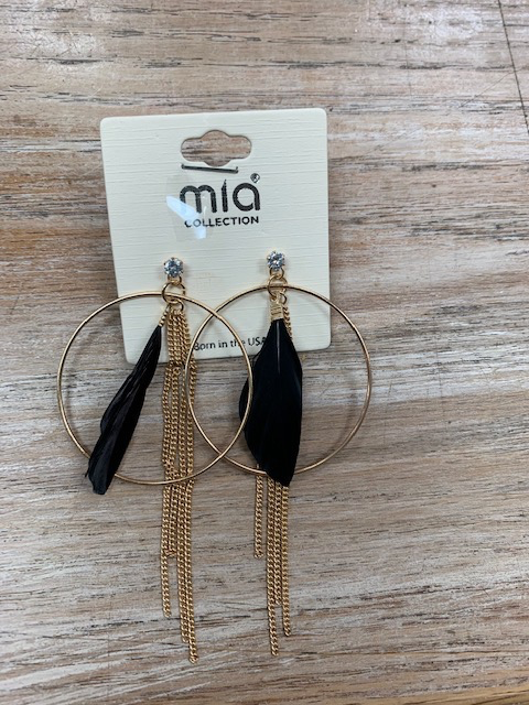 Jewelry Gold Hoop Chain Feather Earrings