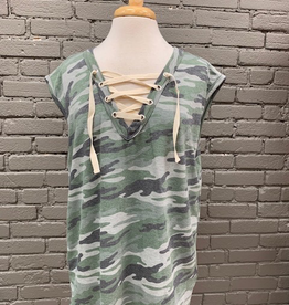 Shirt Camo Lace Up Front Top