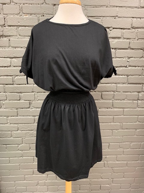 Dress Blk Smock Waist Tie Sleeve Dress