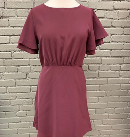 Dress Wine Ruffle Fit Flare Dress