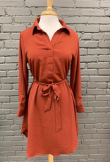 Dress Brick LS Tie Shirt Dress