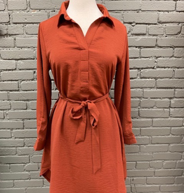 Dress Brick LS Tie Shirt Dress