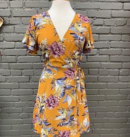 Dress Mustard Floral Wrap Dress