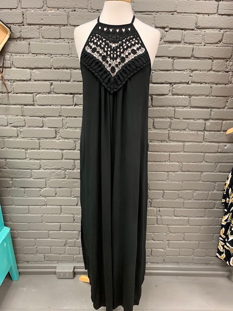 Dress Black Crochet Halter Maxi Dress