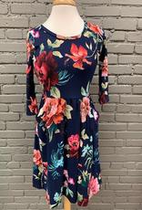 Dress Navy 3/4 Floral Pocket Dress