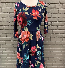 Dress Navy 3/4 Floral Pocket Dress