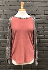 Long Sleeve Snakeskin Tunic w/ Cut Out Sleeves