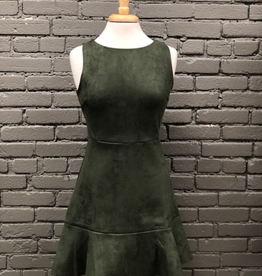 Dress Olive Sleeveless Suede Dress w/ Ruffle Hem